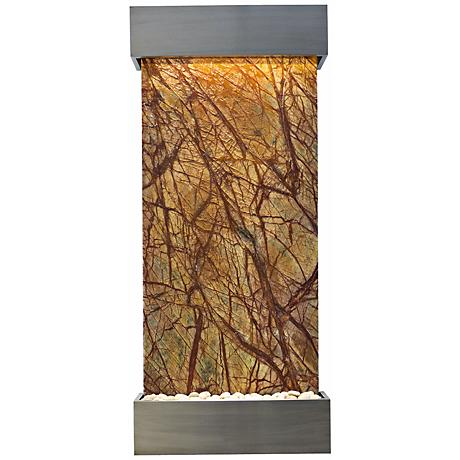 """Classic Quarry 58"""" Brown Marble and Stainless Wall Fountain"""