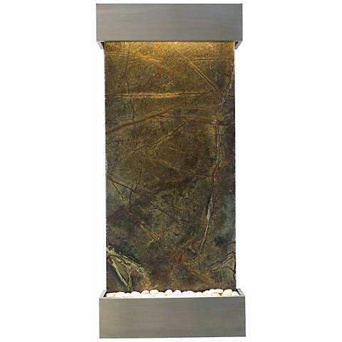 """Classic 58"""" High Green Marble and Stainless Wall Fountain"""