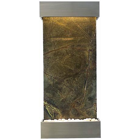 "Classic 58"" High Green Marble and Stainless Wall Fountain"