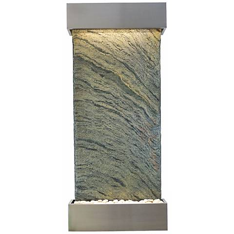 """Classic Quarry 58"""" Jera Slate Stainless Steel Wall Fountain"""