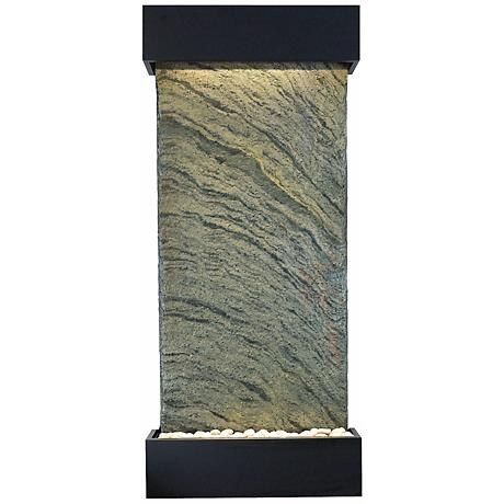 "Classic Quarry 58"" Jera Slate and Black Onyx Wall Fountain"