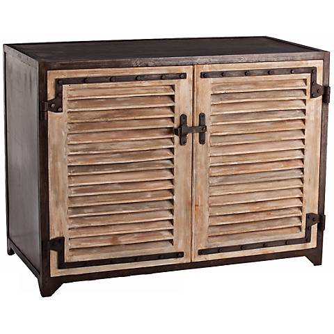 Arteriors Home Paris Metal and Wood Shutter Cabinet