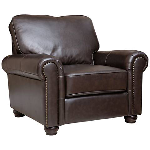 Westwood Crest Rich Dark Brown Leather Armchair