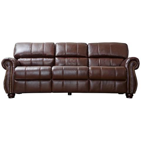 """Chatsworth Palazo Italian Burgundy 88"""" Wide Leather Sofa"""
