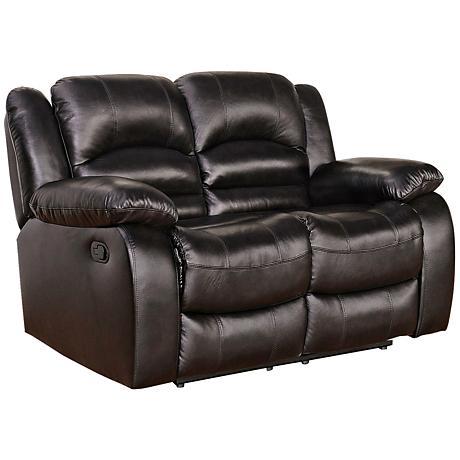 Merced Moraga Reclining Brown Leather Loveseat