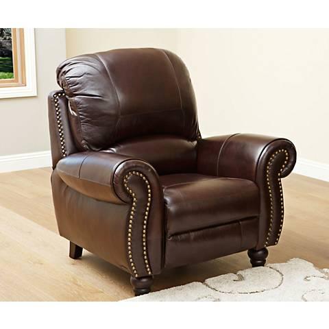 Austin Taylor Leather Pushback Reclining Burgundy Arm Chair