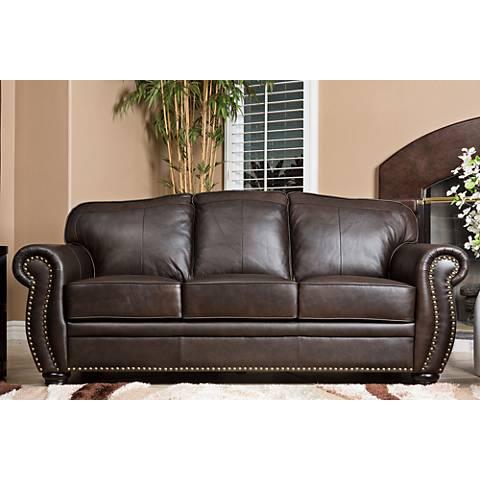 "California Sierra Leather 84"" Wide Brown Sofa"