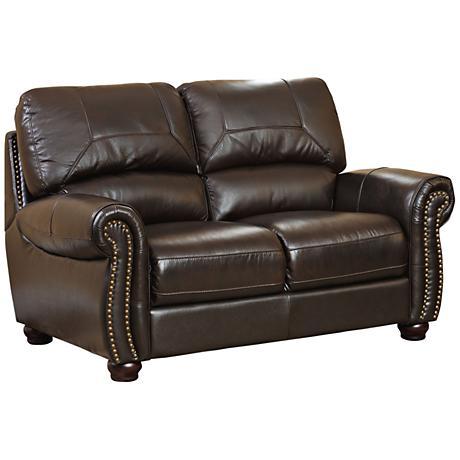 Capisterano Raines Dark Brown Italian Leather Loveseat