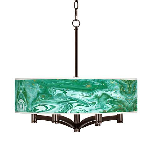 Malachite Ava 6-Light Bronze Pendant Chandelier