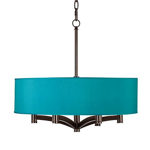 Teal Blue Faux Silk Ava 6-Light Bronze Pendant Chandelier