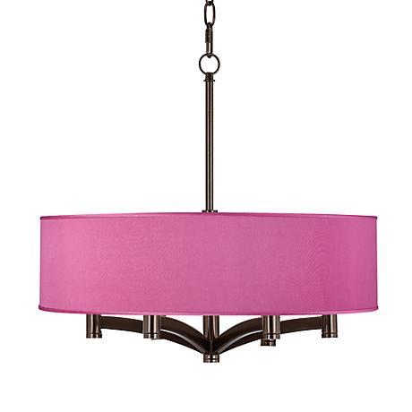 Pink Orchid Faux Silk Ava 6-Light Pendant Chandelier