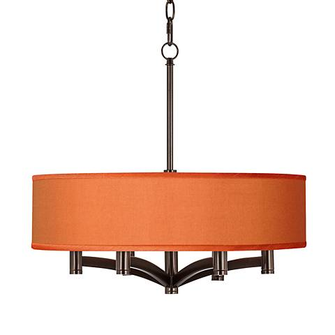 Orange Faux Silk Ava 6-Light Bronze Pendant Chandelier