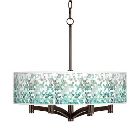 Aqua Mosaic Ava 6-Light Bronze Pendant Chandelier
