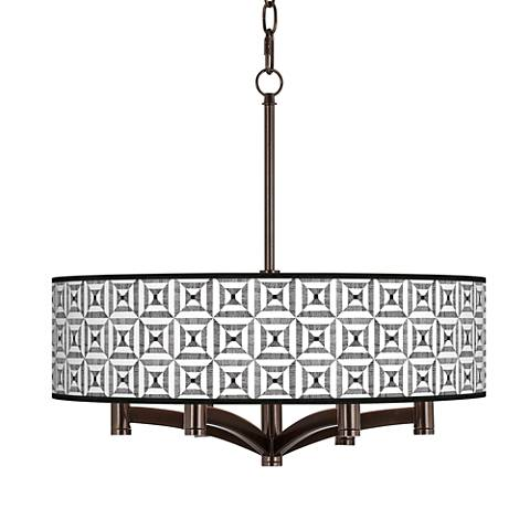 Tile Illusion Ava 6-Light Bronze Pendant Chandelier