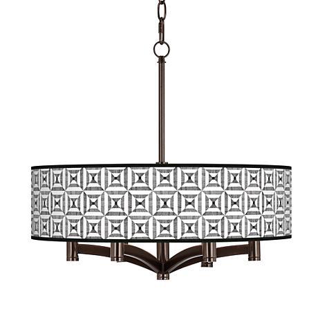 Tile Illusion Ava 6-Light Bronze Pendant Chandelier
