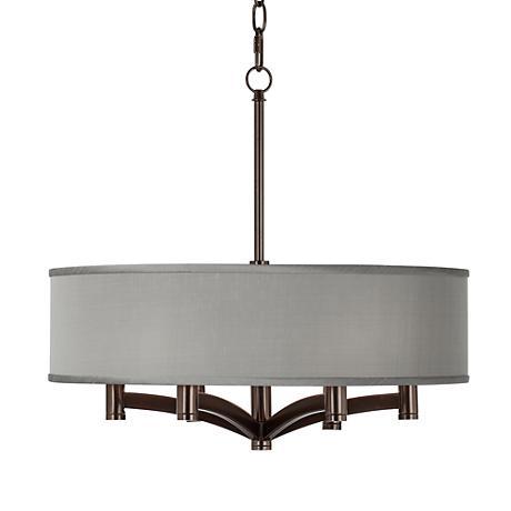 Gray Faux Silk Ava 6-Light Bronze Pendant Chandelier