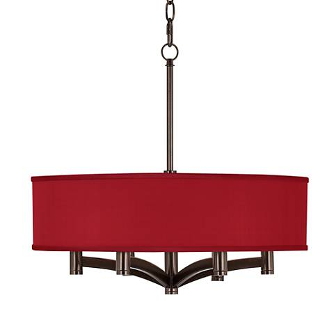China Red Textured Silk Ava 6-Light Bronze Pendant Chandelier