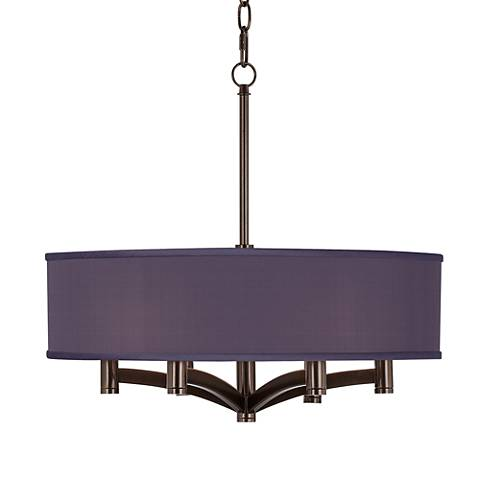 Eggplant Faux Silk Ava 6-Light Bronze Pendant Chandelier