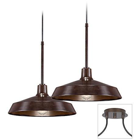 Possini Euro Design Industrial 2-Light Tiger Bronze Pendant