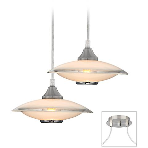 Possini Euro Brushed Nickel Saucers Double Light Pendant