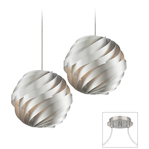 Silver Waves Brushed Nickel Double Multi Light Pendant