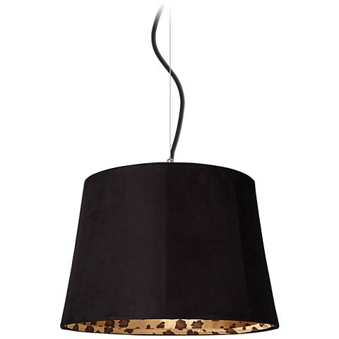 "Black Faux Suede Shade 16"" Wide Pendant Light"