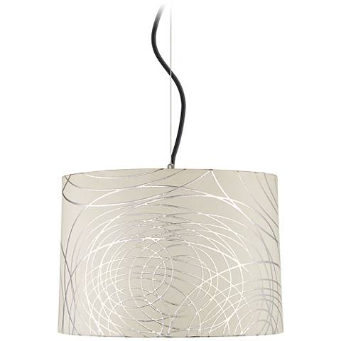 "Abstract Silver Circles Shade 16"" Wide Pendant Light"