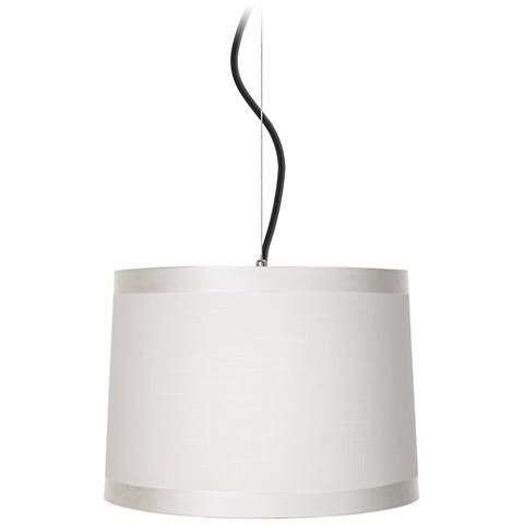 "Off-White Drum Shade 14"" Wide Pendant Light"