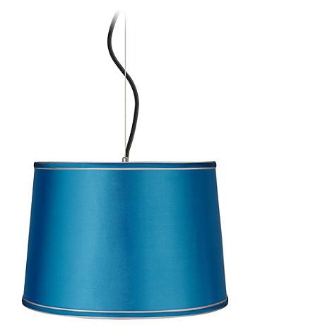 "Satin Turquoise Shade 16"" Wide Pendant Light"