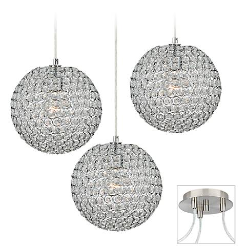 Crystal Beaded Brushed Nickel Triple Multi Light Pendant