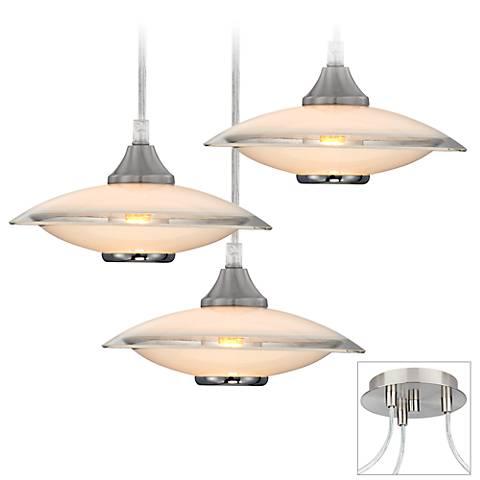 Saucers Brushed Nickel Triple Multi Light Pendant