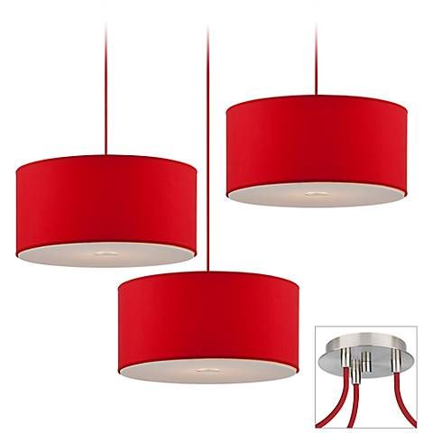 Possini Euro Red Shade Brushed Nickel Triple Light Pendant