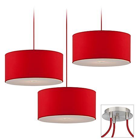 Possini Euro Red Shade Brushed Nickel Triple Light Pendant
