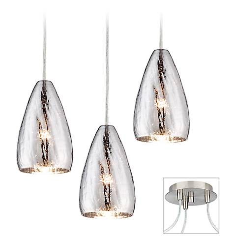 Possini Euro Portico Brushed Nickel Triple Swag Chandelier