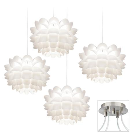 Possini Euro White Flower Brushed Nickel 4 Swag Chandelier X9884 13022 L