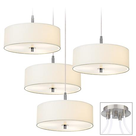 Possini Euro White Drum Brushed Nickel 4-Light Pendant