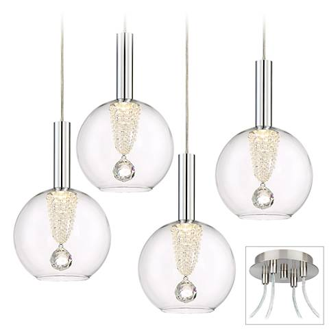 Possini Euro Ritzville LED Brushed Nickel 4-Light Swag Pendant