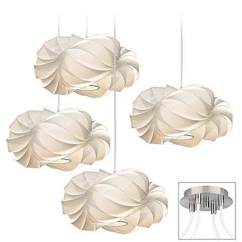 White Cloud Brushed Nickel 4-Light Multi Light Pendant