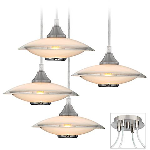 Saucers Brushed Nickel 4-Light Multi Light Pendant