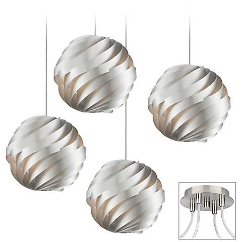 Silver Waves 4-Light Brushed Nickel Multi Light Pendant