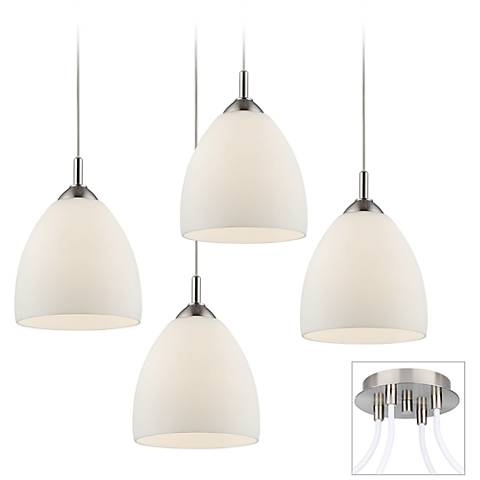 Opal Glass Brushed Nickel 4-Light Multi Light Pendant
