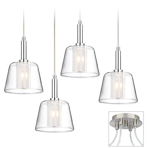 Double Glass Brushed Nickel 4-Light Multi Light Pendant