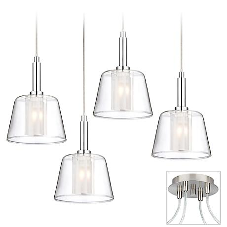 Double Glass Brushed Nickel 4-Light Multi Light Pendant