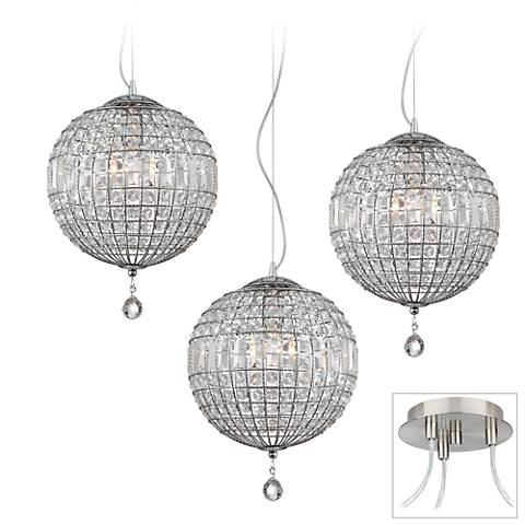 Possini Euro Casey Brushed Nickel 3-Light Swag Pendant