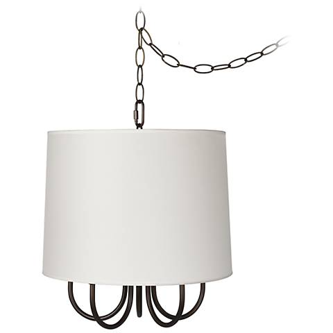 "Wynwood 14"" Wide Swag Chandelier with White Drum Shade"