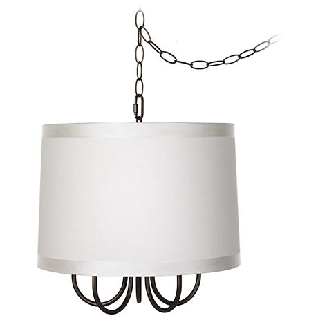 """Wynwood 16"""" Wide Swag Chandelier with Off-White Shade"""
