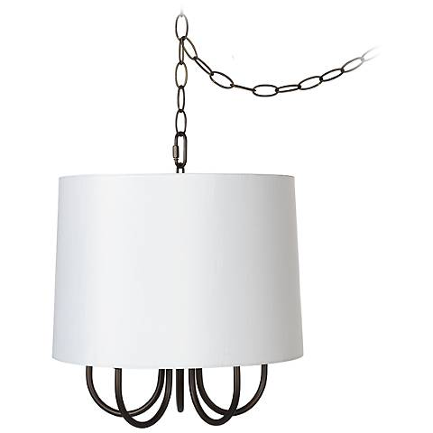 "Wynwood 14"" Wide Mini Swag Chandelier with White Drum"