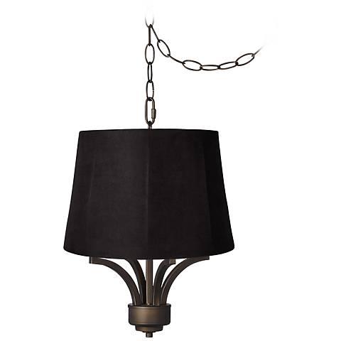 "Fortuna Bronze 16"" Wide Black Shade Mini Chandelier"