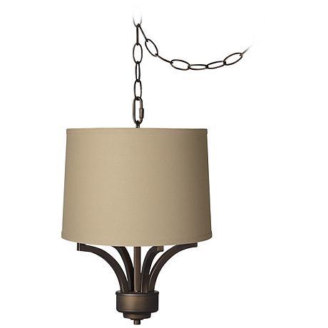 "Fortuna Bronze 14"" Wide Taupe Linen Mini Chandelier"
