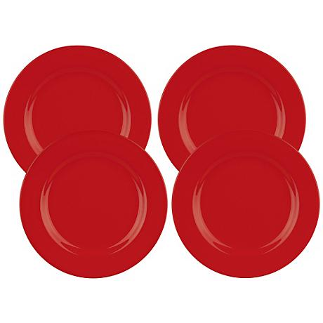 Set of 4 Fun Factory Red Dinner Plates